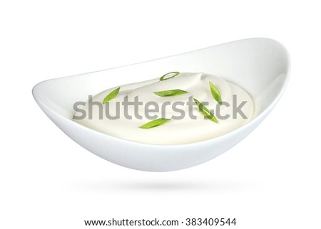 sour cream with onion in bowl isolated on white background - stock photo