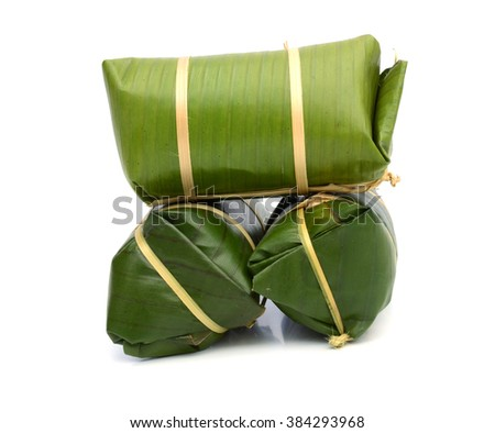 Sour pork : Thai northeastern style food which mixed pork rice garlic sugar and salt in banana leaf package.