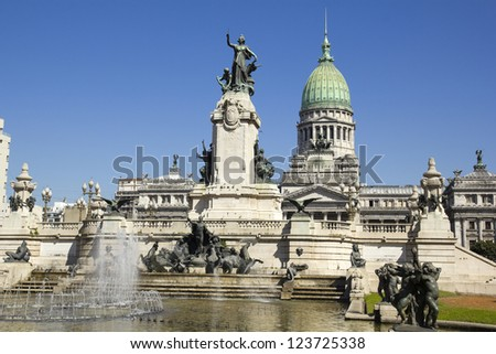 Source and monumental complex of Congress Square. in Buenos Aires, Argentina - stock photo