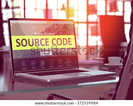 Source Code Concept. Closeup Landing Page on Laptop Screen  on background of Comfortable Working Place in Modern Office. Blurred, Toned Image. 3d Render. - stock photo