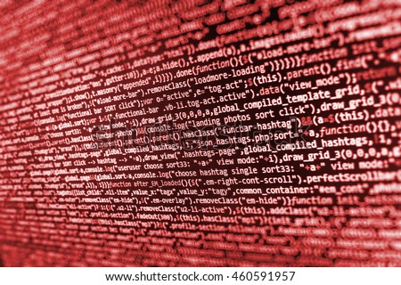 Source code photo. Monitor photo. Computer script.  Programmer occupation. Technology background.  Website development. Website programming code. Developer working on websites codes in office.