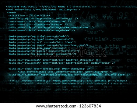 Source code technology background, illustration - stock photo