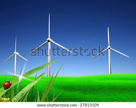 Source of a wind power - stock photo