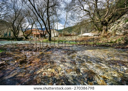 Source of Aroanios river, in Planitero village, North Peloponnese, Greece