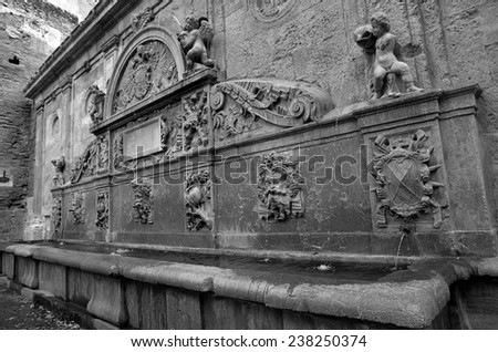Source of Charles V at the Alhambra - stock photo