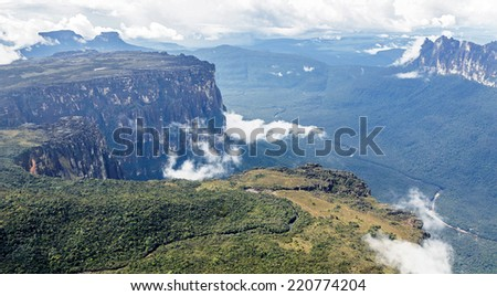 Source of the river supply Angel Falls (Salto Angel) is worlds highest waterfalls (978 m). View from an airplane - Venezuela, South America - stock photo