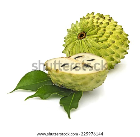 Soursop sections isolated on white background  - stock photo