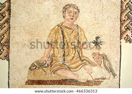 SOUSSE,TUNISIA - JUNE 26,2016: Fragment of colored ancient Roman mosaics