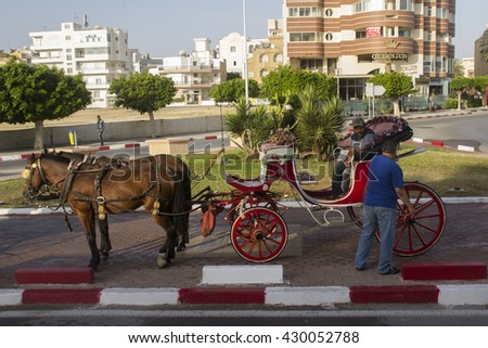 SOUSSE, TUNISIA - MAY 25, 2015: Horse carriage in Sousse, Tunisia. Sousse, Tunisia, May 25, 2015 - stock photo