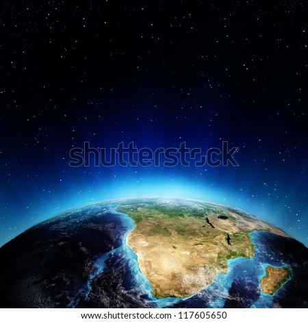 South Africa and madagascar. Elements of this image furnished by NASA - stock photo