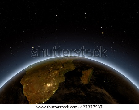 South Africa at night from Earth's orbit in space. 3D illustration with detailed planet surface and city lights. Elements of this image furnished by NASA.