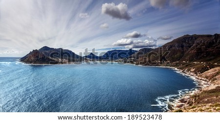 South Africa bay view, panoramic landscape of Capetown, aerial view on Atlantic sea, majestic scene of mountains, beauty of nature concept - stock photo