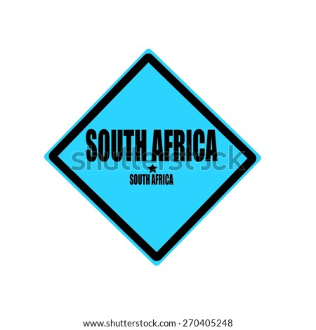 South africa black stamp text on blue background - stock photo