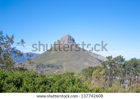 South Africa, Cape Town,  Lions Head  from an aerial perspective, UAR - stock photo