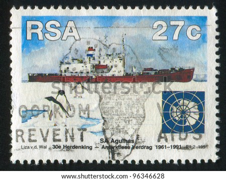 SOUTH AFRICA - CIRCA 1991: A stamp printed by South Africa, shows Agulhas, penguins, circa 1991