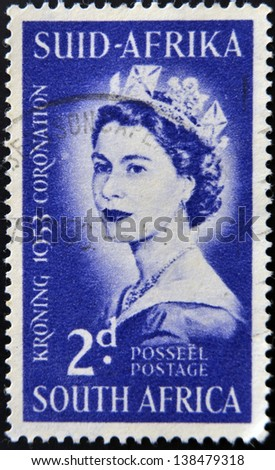 SOUTH AFRICA - CIRCA 1953: A stamp printed in South Africa celebrating the coronation of Queen Elizabeth II, circa 1953