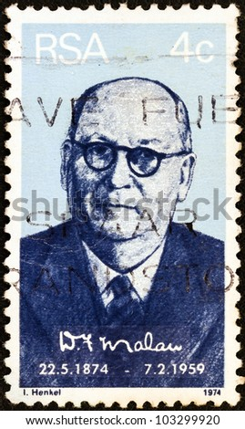 SOUTH AFRICA - CIRCA 1974: A stamp printed in South Africa issued for the birth centenary of  Daniel Francois Malan shows a portait of prime minister Daniel Francois Malan, circa 1974.