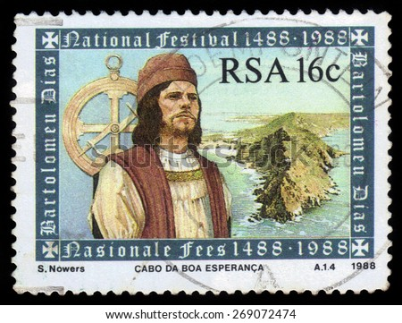SOUTH AFRICA - CIRCA 1988: A stamp printed in South Africa shows Bartolomeu Dias (1450-1500), 500th Anniversary of Bartolomeu Dias travel in Africa, circa 1988