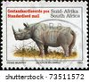 SOUTH AFRICA - CIRCA 1993: A stamp printed in South Africa shows Black Rhinoceros or Hook-lipped Rhinoceros (Diceros bicornis), circa 1993 - stock photo