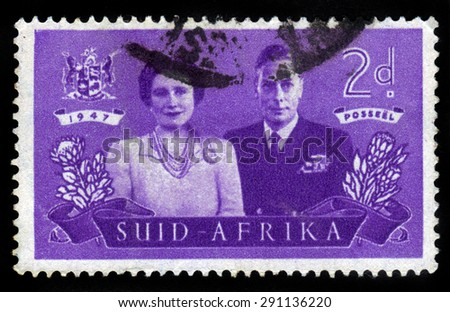 SOUTH AFRICA - CIRCA 1947: a stamp printed in South Africa shows King George VI and Queen Elizabeth, circa 1947 - stock photo