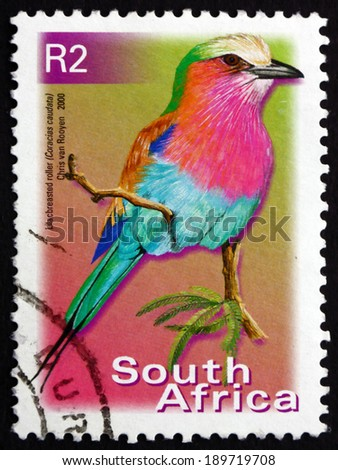 SOUTH AFRICA - CIRCA 2000: a stamp printed in South Africa shows Lilac-breasted Roller, Coracias Caudatus, Bird, circa 2000 - stock photo