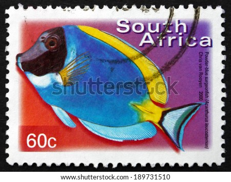 SOUTH AFRICA - CIRCA 2000: a stamp printed in South Africa shows Powder-blue Surgeonfish, Acanthurus Leucosternon, Marine Tropical Fish, circa 2000 - stock photo