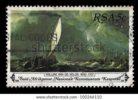 SOUTH AFRICA - CIRCA 1980: A stamp Printed in South Africa shows Sail Boats on Stormy Sea Painting, dedicated to the painter Willem van de Velde, circa 1980