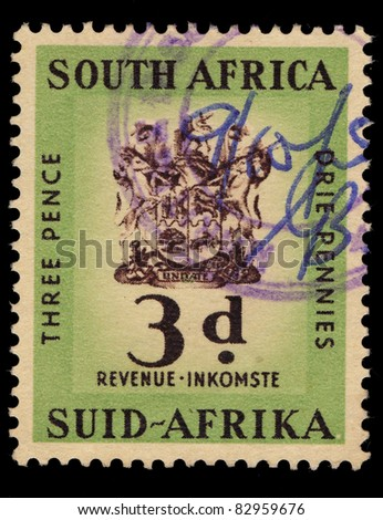 SOUTH AFRICA - CIRCA 1958: A stamp printed in South Africa shows Three Pence, Orie Pennies, circa 1958
