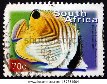 SOUTH AFRICA - CIRCA 2000: a stamp printed in South Africa shows Treadfin Butterflyfish, Chaetodon Auriga, Marine Tropical Fish, circa 2000 - stock photo