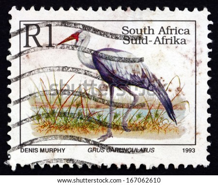SOUTH AFRICA - CIRCA 1993: a stamp printed in South Africa shows Wattled Crane, Grus Carunculatus, Bird, circa 1993