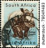 SOUTH AFRICA - CIRCA 1954: A stamp printed in South Africa shows White Rhinoceros or Square-lipped rhinoceros (Ceratotherium simum), series, circa 1954 - stock photo