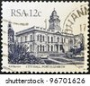 SOUTH AFRICA - CIRCA 1985: A  stamp printed in the Republic of South Africa shows the City Hall, port elizabeth, circa 1985 - stock photo