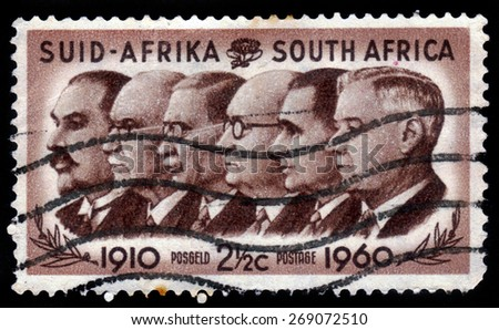 SOUTH AFRICA - CIRCA 1960: stamp printed in South Africa shows Prime Ministers Louis Botha, Jan Christiaan Smuts, James Barry Munnik Hertzog, Johannes Gerhardus Strijdom, Hendrik Verwoerd, circa 1960 - stock photo