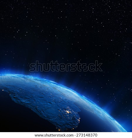 South Africa city lights. Elements of this image furnished by NASA - stock photo