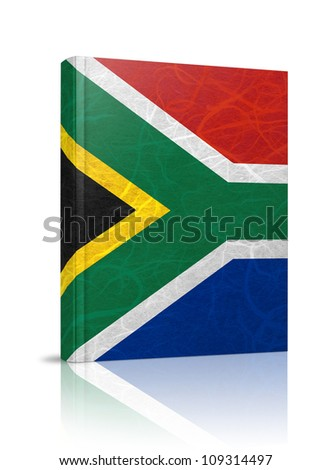 South Africa flag book. Mulberry paper on white background.