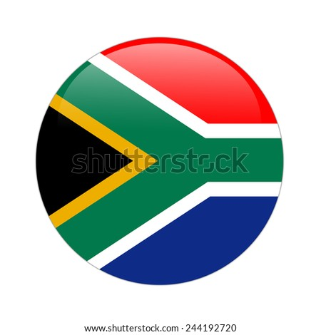 South Africa flag button on white
