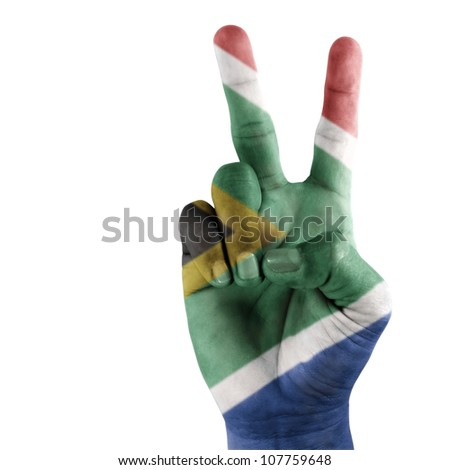 South Africa flag on hand with a white background.
