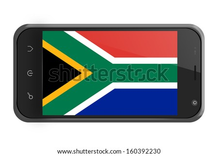South Africa flag on smartphone screen isolated on white - stock photo