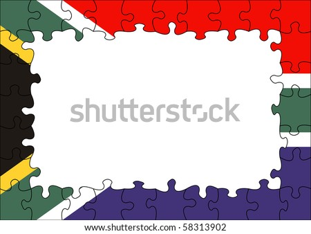 South Africa flag puzzle border