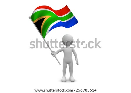 South Africa Flag waving isolated on white background