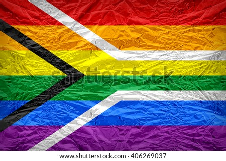 South Africa Gay flag pattern overlay on floyd of candy shell, vintage border style