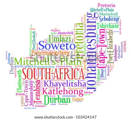 South Africa map and words cloud with larger cities