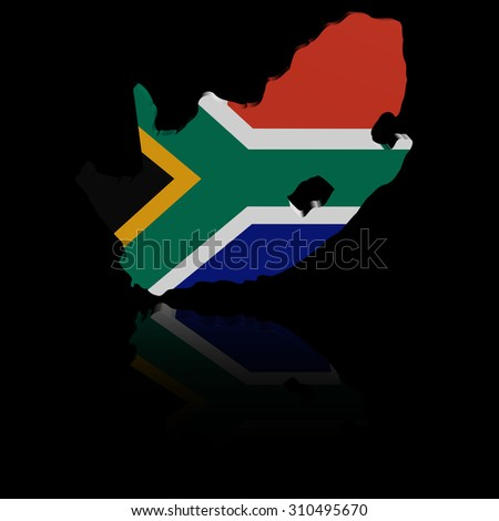 South Africa map flag with reflection illustration - stock photo