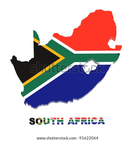 South Africa, map with flag, isolated on white, with clipping path, 3d illustration