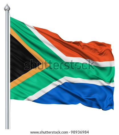 South Africa national flag waving in the wind - stock photo