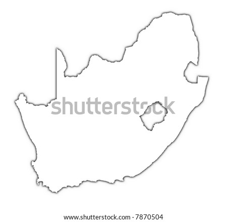 South Africa outline map with shadow. Detailed, Mercator projection.