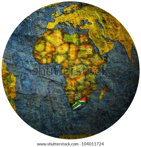 south africa territory with flag on map of globe