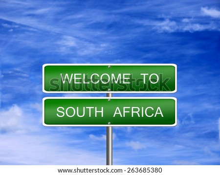 South Africa welcome sign post travel immigration. - stock photo