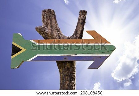 South Africa wooden sign on a beautiful day - stock photo