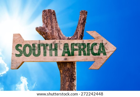 South Africa wooden sign with sky background - stock photo